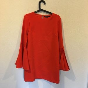 English Factory bell sleeve red dress